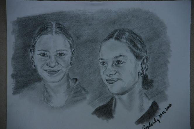 Grafit, Portrait, Menschen, Kopf, Frau, Gesicht