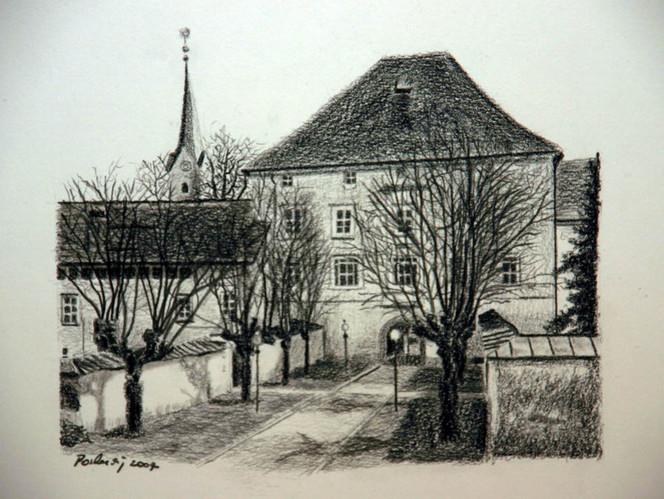 Kohlezeichnung, Landschaft, Kirche, Viktringer künstlerkreis, Pfarrhof, Botka