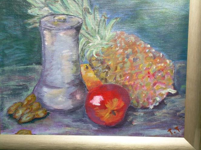 Malerei, Acrylmalerei, Stillleben, Ananas