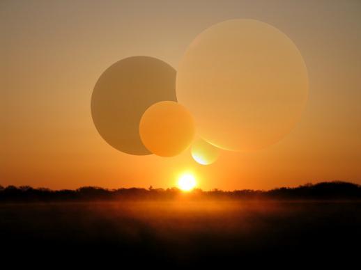 Sonnenaufgang, Orange, Digital, Landschaft, Nebel, Kugel