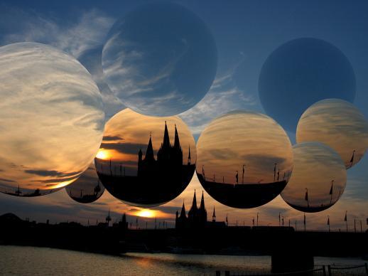Digital, Landschaft, Sonnenuntergang, Ball, Kugel, Kölner dom