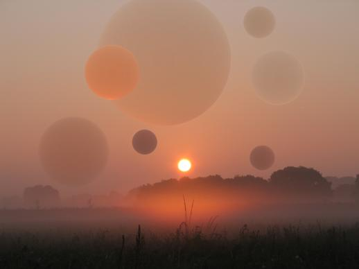 Sphäre, Nebel, Altrosa, Landschaft, Ball, Sonnenaufgang