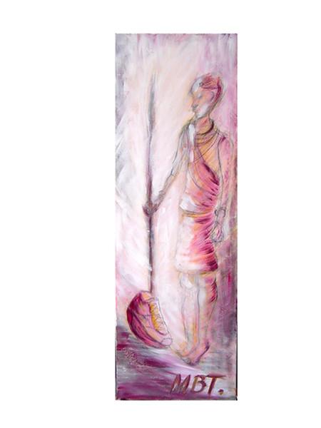 Pink, Malerei, Massai, Figural, Acrylmalerei