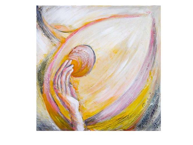 Hand, Malerei, Abstrakt, Gelb, Acrylmalerei