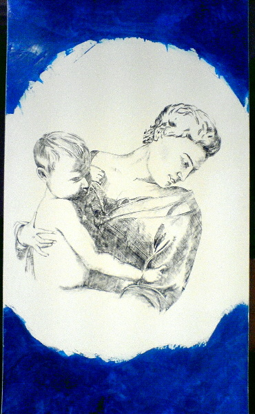 Zeichnung, Portrait, Fresko, Zeichnungen, Kind, Madonna