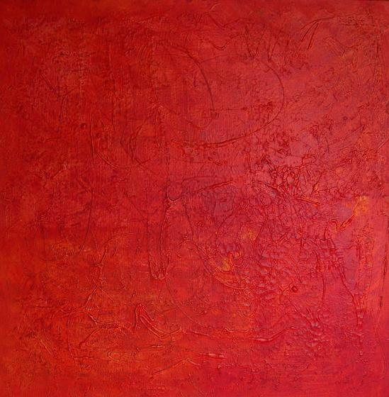 Rot, Mischtechnik, Abstrakt, Malerei