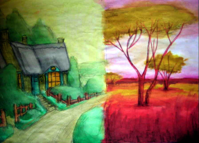 Weg, Malerei, Skizze, Haus, Baum, Afrika