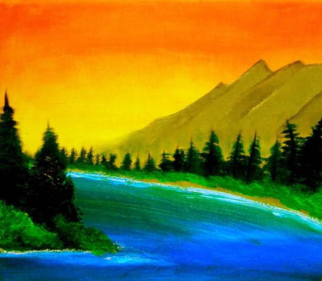 Wasser, Sonnenuntergang, Landschaft, Berge, Wald, Malerei