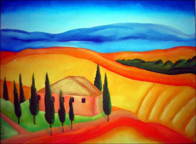Baum, Feld, Gebäude, Malerei, Landschaft