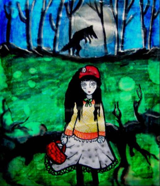 Surreal, Wiese, Wald, Malerei, Mädchen, Wolf