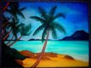 Malerei, Palmen, Berge, Sand