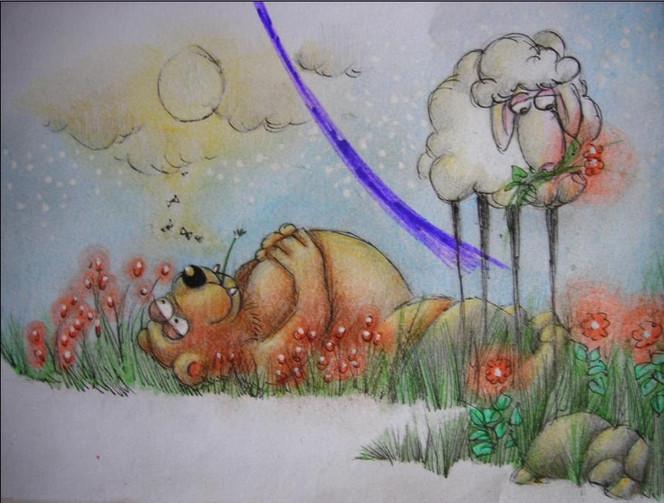 Bär, Comic, Mond, Skizze, Zeichnung, Schaf