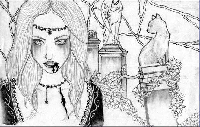 Katze, Blut, Zeichnung, Vampir, Zeichnungen, Tiere