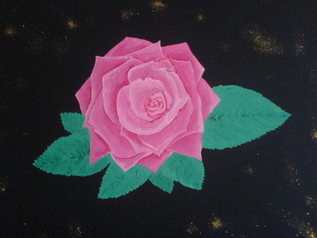Schwarz, Rose, Blumen, Rosa, Glitzer, Malerei
