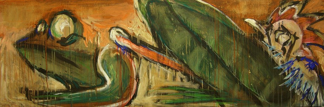 Malerei, Hahn, Frosch
