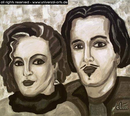 Paar, Gemälde, Acrylmalerei, Portrait, Figur, Malerei