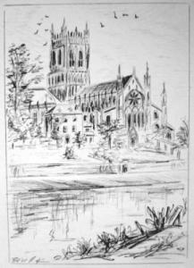 Kirche, Schwarz weiß, England, Bleistiftzeichnung, Landschaft, Zeichnungen