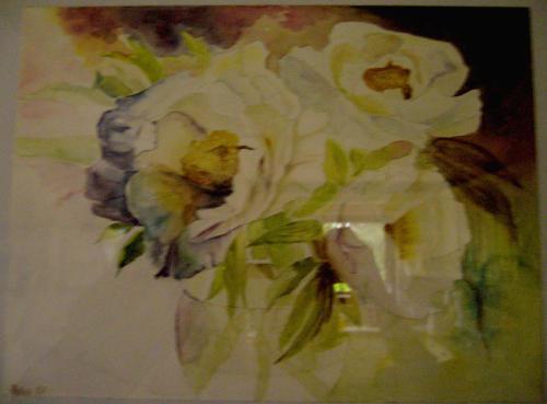Blumen, Weiß, Malerei, Rose, Stillleben, Blüte
