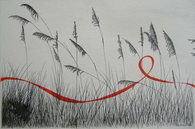 Gras, Rot schwarz, Malerei, Aquarellmalerei, Landschaft, Tuschmalerei