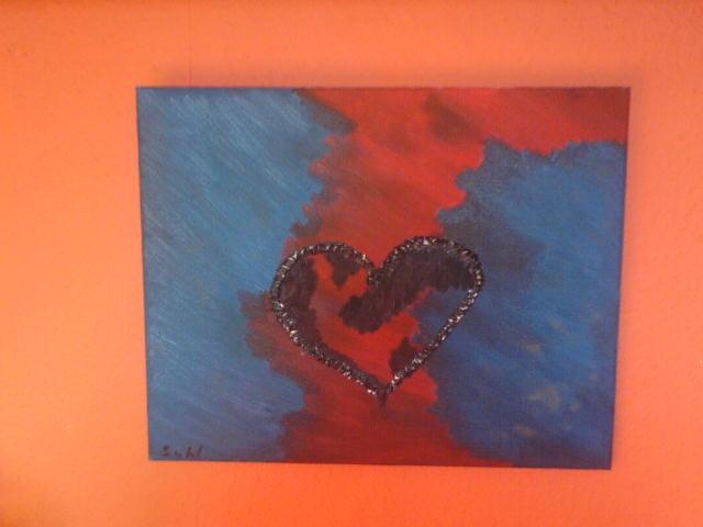 Liebe, Abstrakt, Blau, Malerei, Gefühl, Rot schwarz