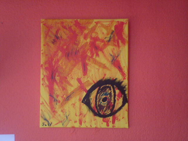 Abstrakt, Gelb, Malerei, Augen, Emotion