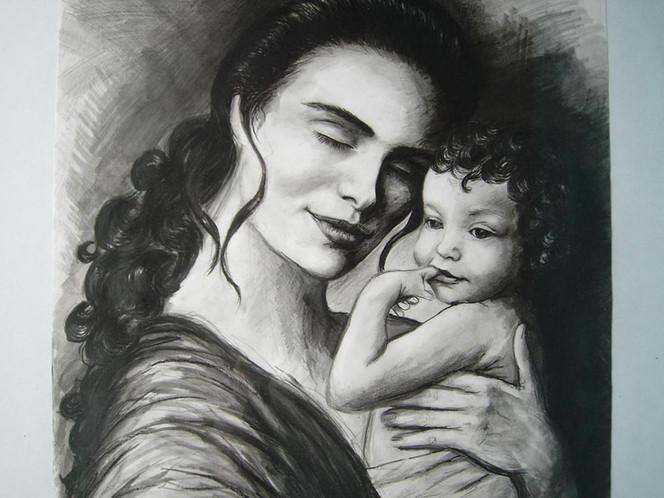Malerei, Familie, Liebe, Realismus, Portrait, Frau