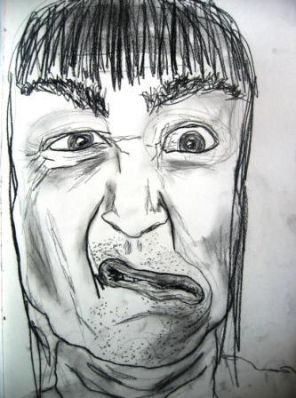 Kohlezeichnung, Portrait, Mann, Schwarz weiß, Zeichnung, Zeichnungen