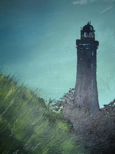 Landschaft, Malerei, Leuchtturm, Abend
