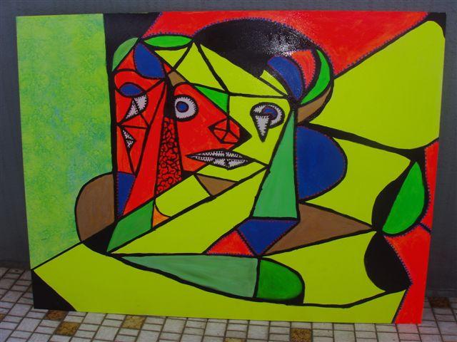 Malerei, Abstrakt, Neon, Frau, Freude, Kubismus