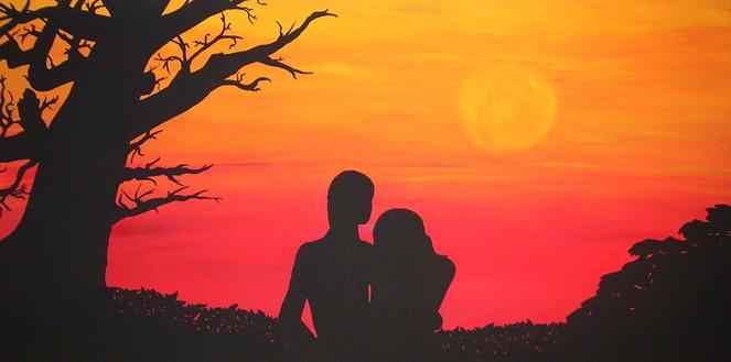 Abend, Mann, Liebe, Rot, Sonnenuntergang, Frau