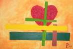 Herz, Braun, Acrylmalerei, Gelb