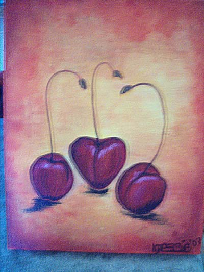 Stillleben, Acrylmalerei, Malerei, Kirsche, Farben, Obst