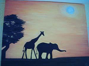 Orange, Silhouetten, Malerei, Landschaft, Acrylmalerei, Elefant