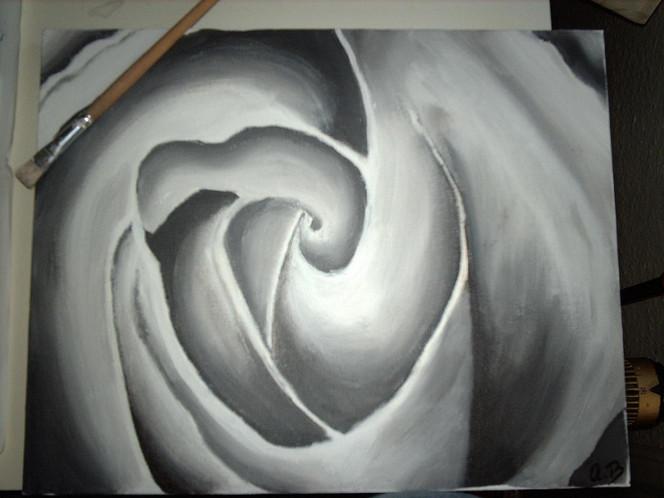 Weiß, Rose, Malerei, Stillleben, Schwarz