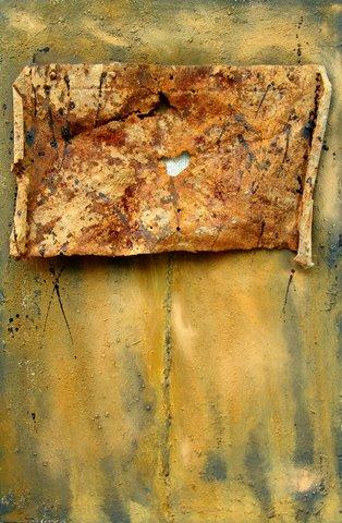 Oxidierung, Metall, Rost, Braun, Installation, Zeitung