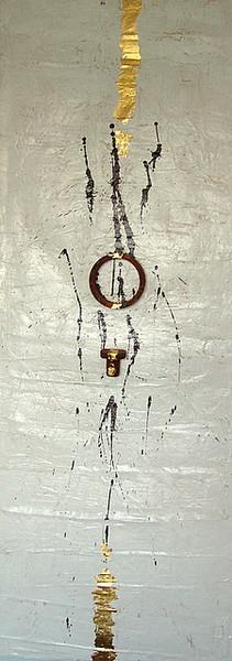 Braun, Installation, Metall, Weiß, Malerei, Abstrakt