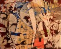 Rot, Graffiti, Zeitung, Abstrakt