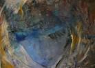 Gouachemalerei, Gesicht, Portrait, Blau