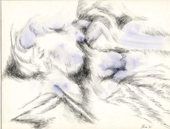Blau, Federzeichnung, Schraffur, Aquarellmalerei, Abstrakt, Zeichnungen