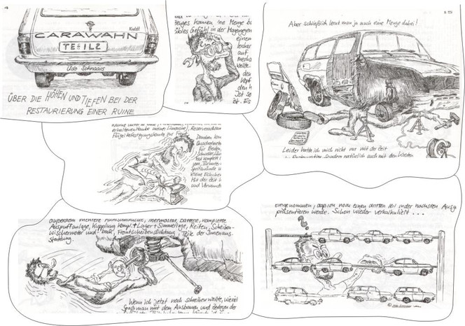 Auto, Comic, Feder, Illustration, Karikatur, Mobil