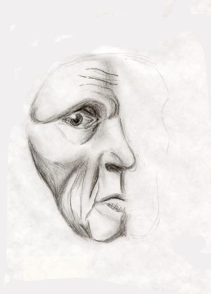 Gesicht, Blick, Kohlezeichnung, Menschen, Zeichnung, Skizze