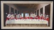 Neulich abends 'mal - acryl malerei davinci abendmahl persiflage weihnachten osterhase konsum stress marketing apostel jesus