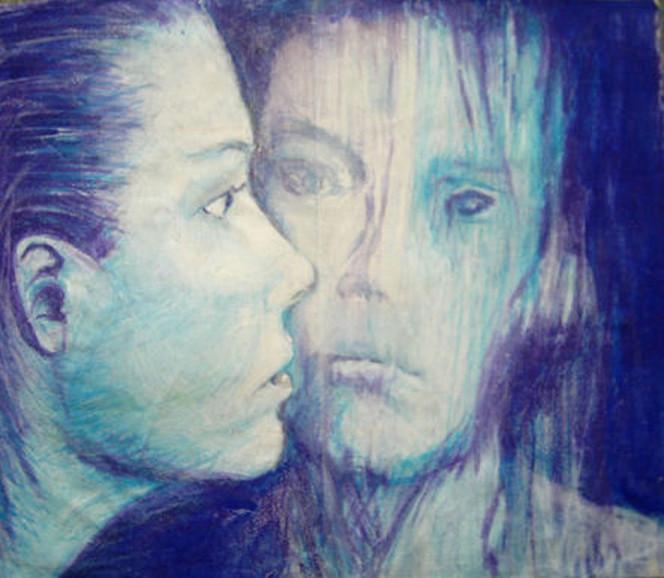 Figural, Frau, Malerei, Menschen, Blau, Wasser