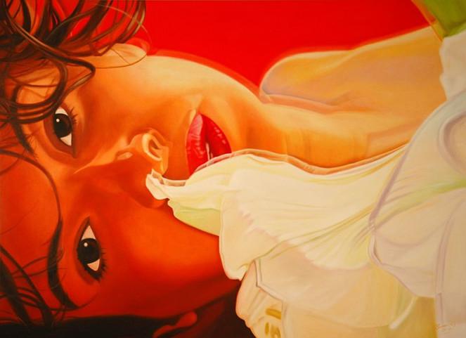 Realismus, Ölmalerei, Rot, Frau, Blüte, Portrait