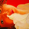 Rot, Ölmalerei, Frau, Blüte