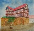 Haus, Fachwerk, Malerei