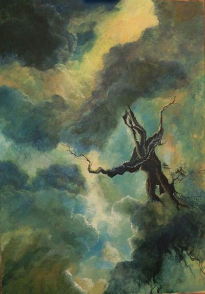 Licht, Wolken, Baum, Himmel, Malerei, Surreal