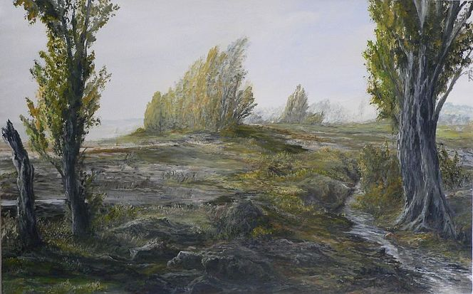 Hochwasser, Pappeln, Herbst, Baum, Malerei