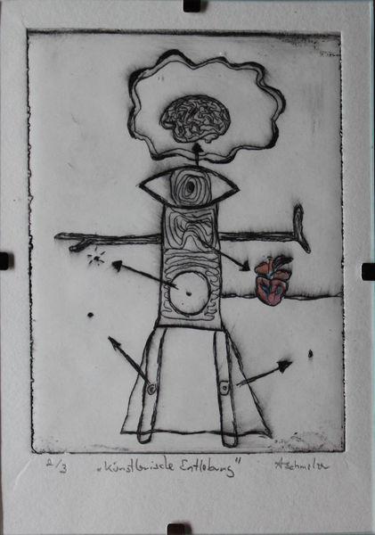 Wartenberg, Milan art, Kaltnadelradierung, Postmodern, Modern art, Kunstdruck
