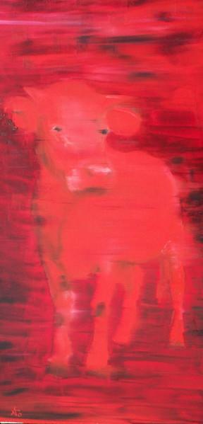 Rot, Kuh, Malerei, Tiere